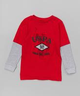 U.S. Polo Assn. Engine Red 'USPA' Layered Tee - Boys