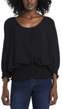 Vince Camuto Women's Smocked Waist Dolman Sleeve Knit Top