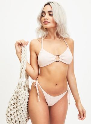 Miss Selfridge Beige Textured Ring Bikini Top