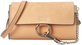 Chloé Faye Mini Leather & Suede Wallet On Chain