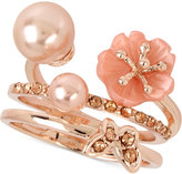 INC International Concepts M. Haskell for Rose Gold-Tone 2-Pc. Set Flower, Imitation Pearl and Butterfly Rings, Only at Macy's