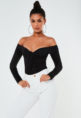 Missguided Black Slinky Ruched Bust Bodysuit