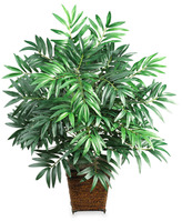 """Bed Bath & Beyond Nearly Natural 32"""" Bamboo Palm Silk Plant with Wicker Basket"""