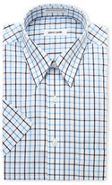 Pierre Cardin Navy & Blue Check Short Sleeve Dress Shirt