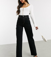 Asos Tall DESIGN Tall high rise wide leg jeans in black comfort stretch