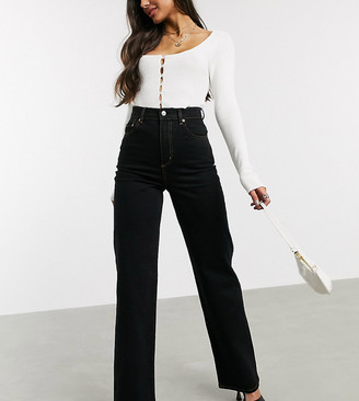 Asos Tall ASOS DESIGN Tall high rise wide leg jeans in black comfort stretch