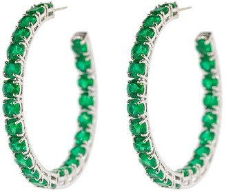 Bayco 18kt White Gold Emerald Hoop Earrings