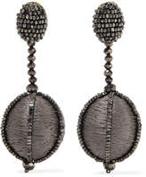 Oscar de la Renta Silk And Bead Clip Earrings - Dark gray