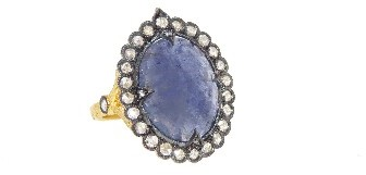 Cathy Waterman Oval Rose Cut Tanzanite Scalloped Frame Ring with Diamonds - 22 Karat Gold