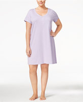 Charter Club Plus Size V-Neck Henley-Style Sleepshirt, Only at Macy's