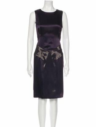 Dennis Basso Colorblock Pattern Knee-Length Dress Purple