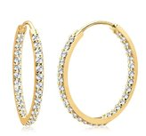 Goldhimmel 0303910612 Swarovski Crystal Sterling Silver 925 Creole Earrings