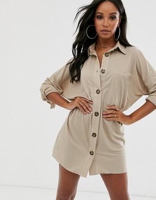 Asos Design DESIGN utility shirt dress-Beige