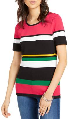 INC International Concepts Striped Short-Sleeve Sweater