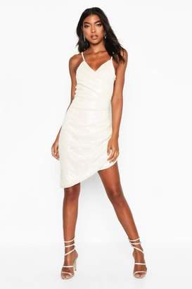boohoo Tall Iridescent Sequin Wrap Cami Dress