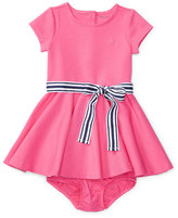 Ralph Lauren Cap-Sleeve Ponte Circle Dress w/ Bloomers, Pink, Size 6-24 Months