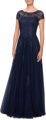 La Femme Embroidered Lace Illusion Yoke A-Line Gown