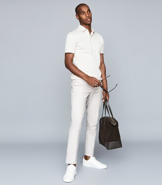 Reiss Elliot - Mercerised Egyptian Cotton Polo in Off White