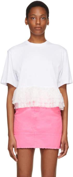 MSGM White Layered Ruffles T-Shirt