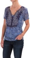 Lucky Brand Scarf Print Lined Shirt - Short Sleeve (For Women)