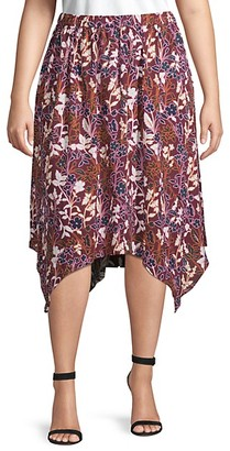 Rachel Roy Plus Handkerchief-Hem Floral Skirt