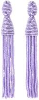 Oscar de la Renta Lilac Long Beaded Tassel Earrings