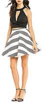 Jodi Kristopher Striped Choker Neck Two-Piece Dress