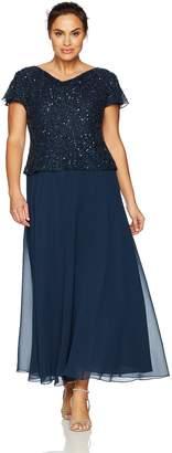 J Kara Women's Plus Size Long Beaded Cowl Neck Flutter Sleeve Gown Dress