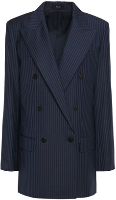 Theory Double-breasted Striped Wool Blazer