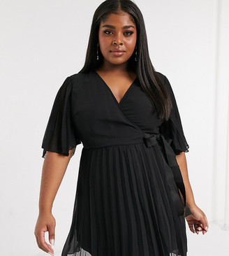 ASOS DESIGN Curve exclusive mini dress with kimono sleeve and tie waist in pleat