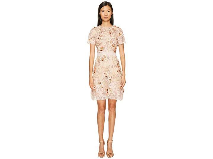 Marchesa A-Line Cocktail in Tulle with Floral Embroidery Women's Dress