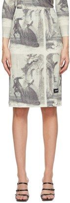 pushBUTTON White and Black Story Print Mid-Length Skirt