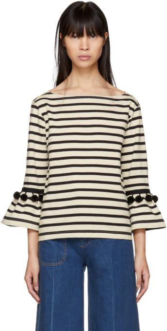 Marc Jacobs White and Black Striped Pom Pom T-Shirt