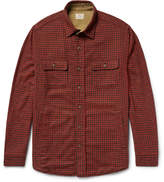 Faherty Suede Elbow-Patch Houndstooth Woven Overshirt