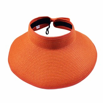Chsdn Womens Wide Brim Straw Hat Floppy Foldable Roll up Cap Beach Sun Hat UPF 50+Four Colors Available Orange