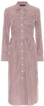 ALEXACHUNG Striped bustier cotton shirt dress