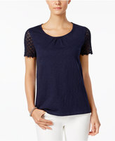 Charter Club Cotton Crochet-Sleeve Top, Only at Macy's