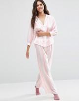 Asos Moss Satin Stripe Piped Pajama Top & Wide Leg Set