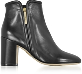 Rodo Black Leather Heel Ankle Boots