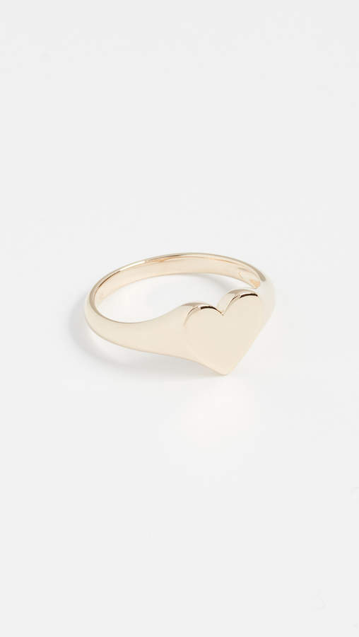 Ef Collection 14k Gold Heart Signet Ring
