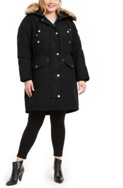 Michael Kors Michael Plus Size Hooded Faux-Fur-Trim Parka Coat
