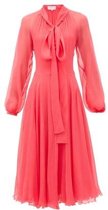 Luisa Beccaria Pussy-bow Silk Plisse-chiffon Midi Dress - Pink