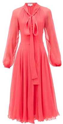 Luisa Beccaria Pussy-bow Silk Plisse-chiffon Midi Dress - Womens - Pink