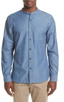 Todd Snyder Men's Stripe Trim Fit Mandarin Collar Sport Shirt