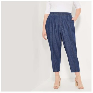 Joe Fresh Women+ Elasticated Twill Pants, Medium Wash (Size 1X)