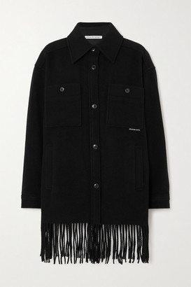 alexanderwang.t Oversized Fringed Wool-felt Coat - Black