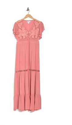 B.O.G. Collective All You Need Is Love V-Neck Embroidered Maxi Dress