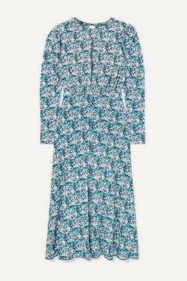 Rotate by Birger Christensen Open-back Floral-print Stretch-jersey Midi Dress - Blue