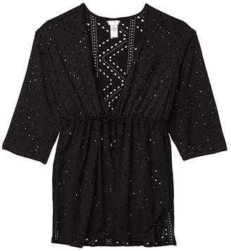 Dotti Mayan Diamond Laser Cut Drawcord Waist Tunic Cover-Up (Black) Women's Swimwear