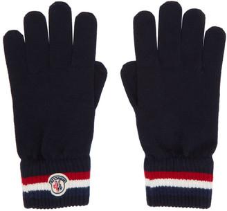 Moncler Navy Wool Stripe Gloves